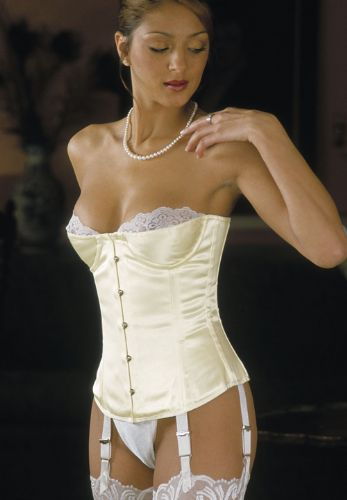"Basque Style Satin Overbust Bridal Corset (12.5"" front)"